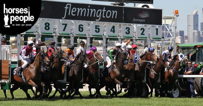 Starting gate line up at Flemington Racetrack, the venue of the Melbourne Cup