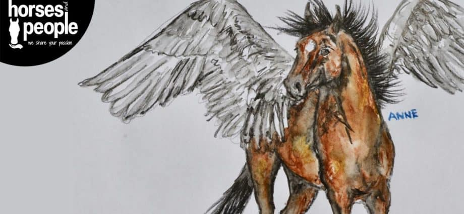 Green Pony artwork by Anne Penelope Murray. Horse with wings and horns. Dante. A Hell of a Ride