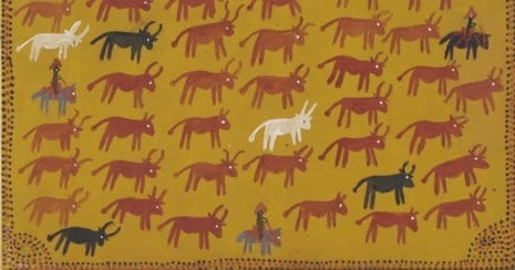 Alan Griffiths, Victoria River Downs Muster, Ochre on Canvas. c private collection. C 2014. Aboriginal Stockwomen
