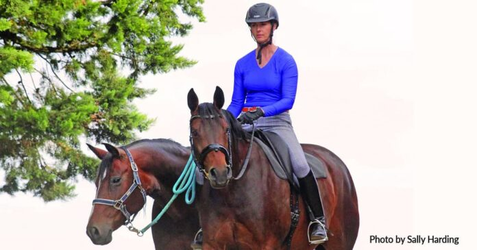Woman wearing a helmet, riding a horse and leading one. Photo ©Sally Harding. Reasons to wear a helmet, How risky is horse riding? Rider deaths.