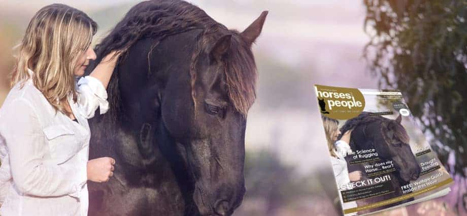 Lisa Drayton with horse and cover of Horses and People Magazine, Believe in Yourself.