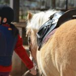 Young horse rider leading her pony