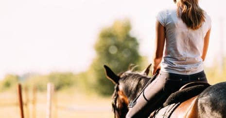 girl riding horse. Being good enough. external validation