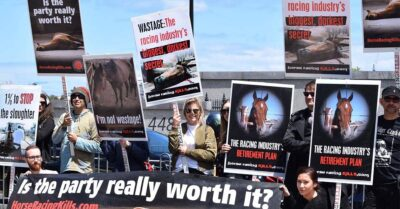 Protesters at the horse races call out wastage
