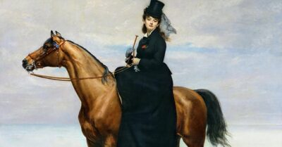 A portrait of Mademoiselle Croizette riding sidesaddle on a bay horse by artist Emile Carolus-Duran, 1873