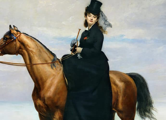 A portrait of Mademoiselle Croizette riding sidesaddle on a bay horse by artist Emile Carolus-Duran, 1873. history of rider wear