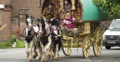 Classic vintage caravan belonging to Gypsies,Romanys,'travellers', at Appleby Horse Fair, held every June in Appleby, Cumbria, UK by David Muscroft