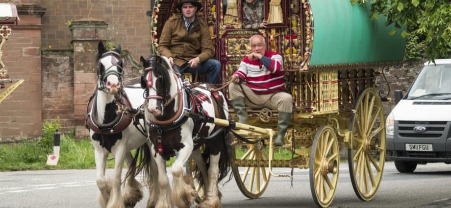 Classic vintage caravan belonging to Gypsies,Romanys,'travellers', at Appleby Horse Fair, held every June in Appleby, Cumbria, UK by David Muscroft. Gypsies and Travellers