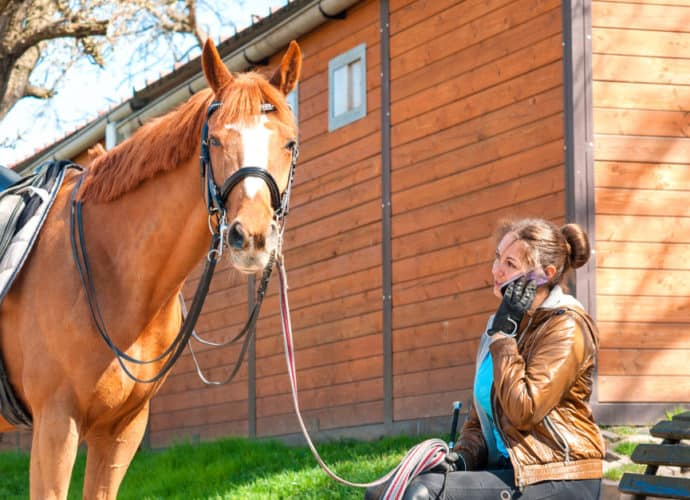 Chesnut horse standing with a woman on her mobile phone