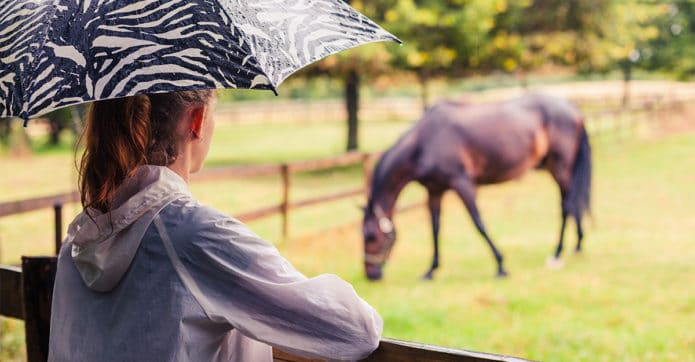 A woman with an umbrella watches her horse grazing in the rain