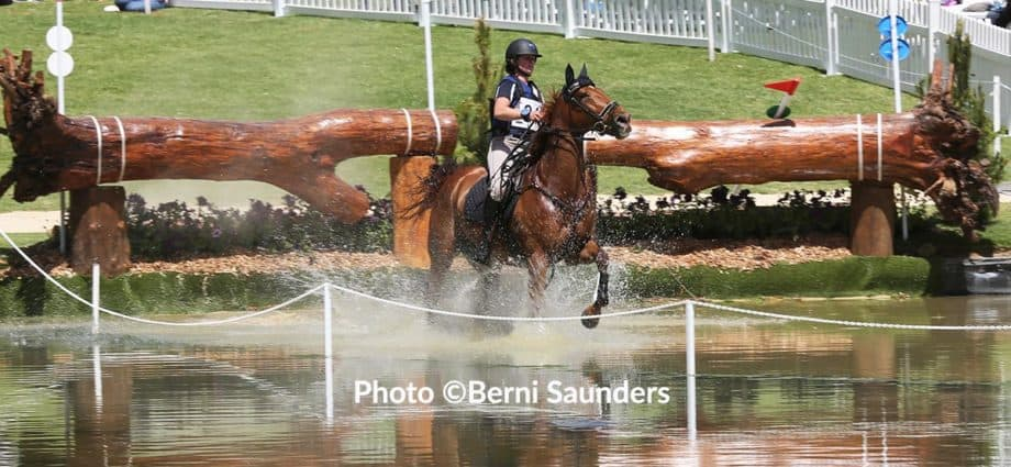 Hazel Shanon riding Willinga Park Clifford through the water obstacle to win at the Adelaide three day event