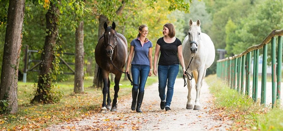 two women lead their horses up the lane
